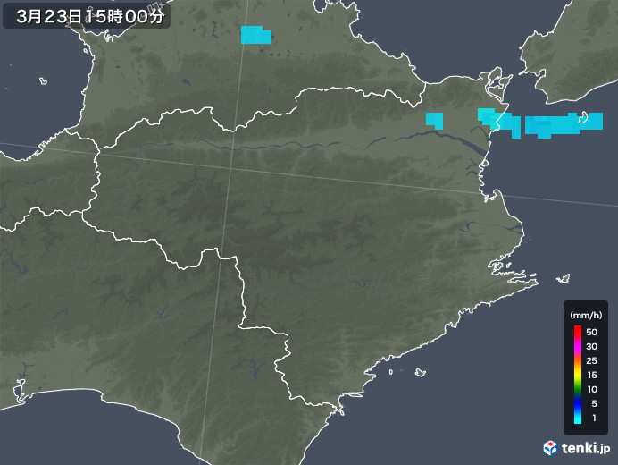 徳島県の雨雲レーダー(2020年03月23日)