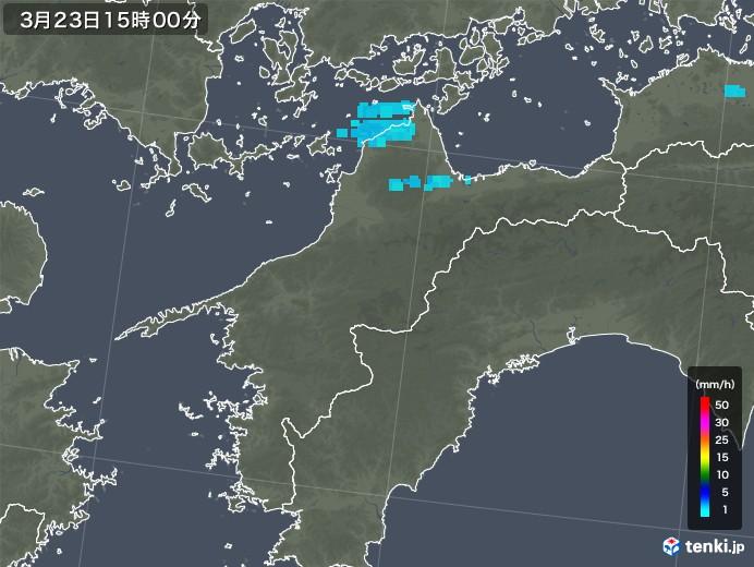 愛媛県の雨雲レーダー(2020年03月23日)