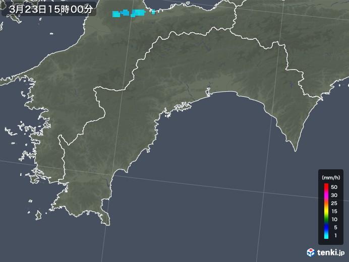 高知県の雨雲レーダー(2020年03月23日)