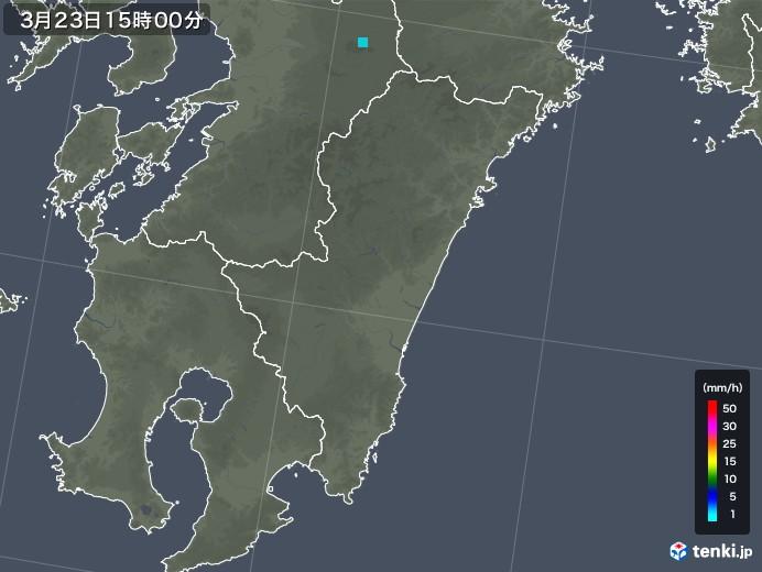 宮崎県の雨雲レーダー(2020年03月23日)