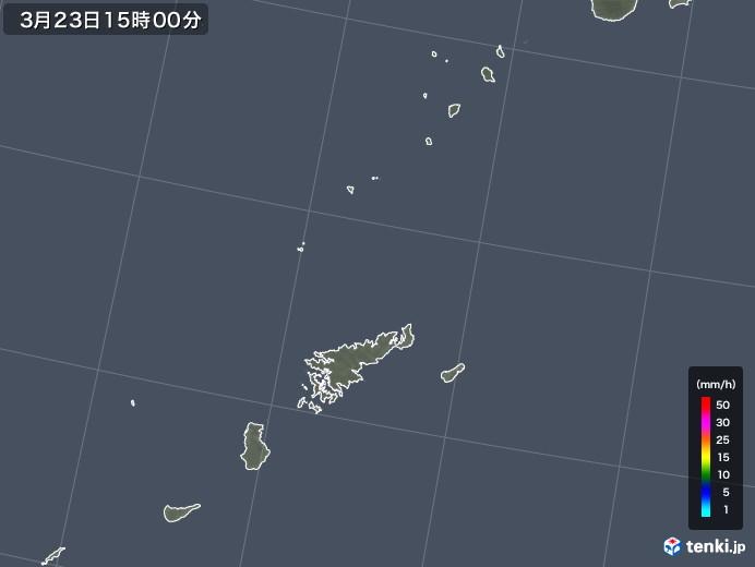 奄美諸島(鹿児島県)の雨雲レーダー(2020年03月23日)