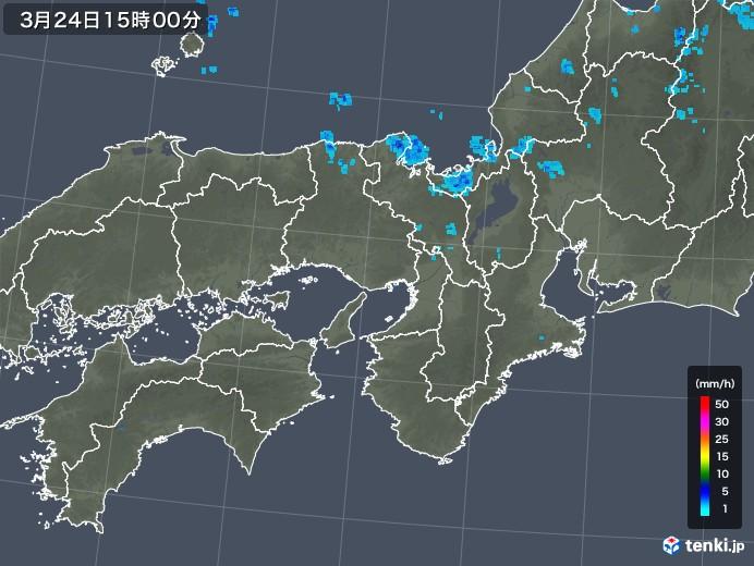 近畿地方の雨雲レーダー(2020年03月24日)