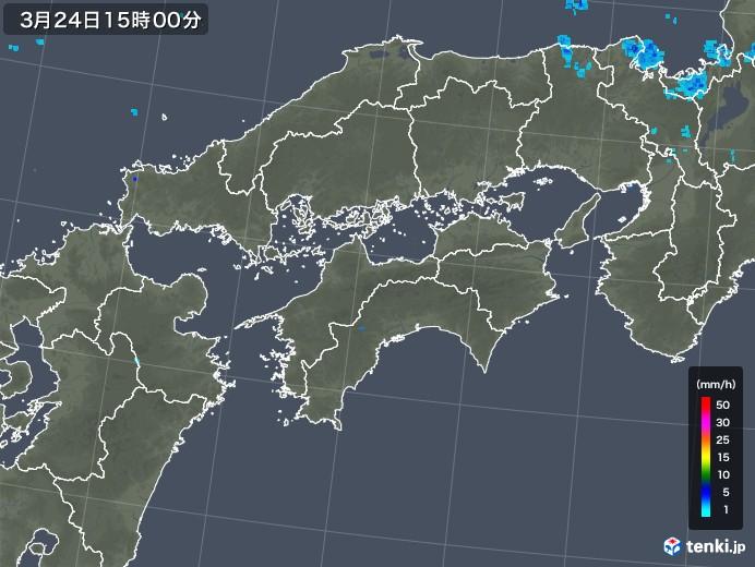 四国地方の雨雲レーダー(2020年03月24日)