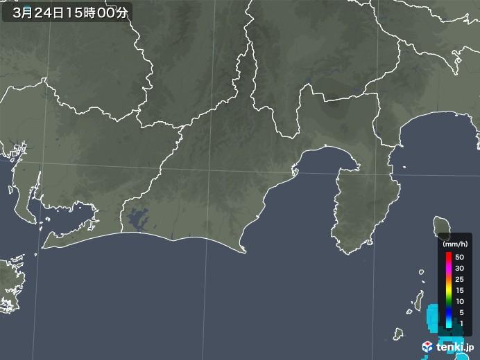 静岡県の雨雲レーダー(2020年03月24日)