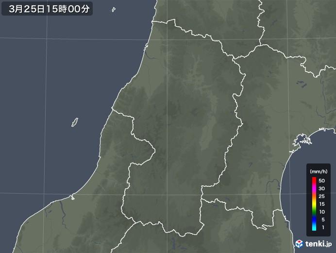 山形県の雨雲レーダー(2020年03月25日)