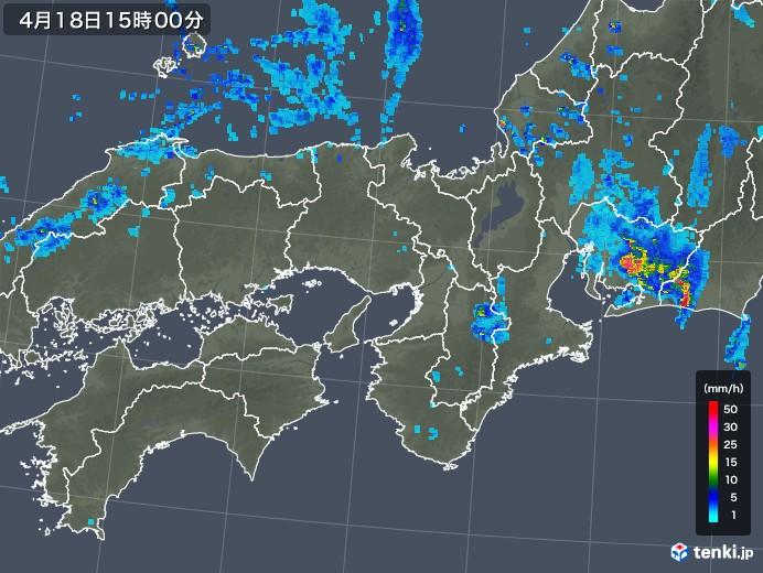 近畿地方の雨雲レーダー(2020年04月18日)