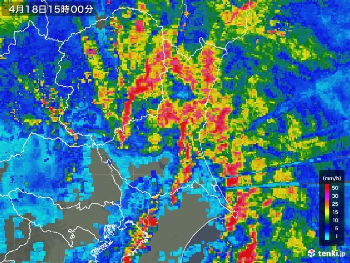 茨城県の雨雲レーダー(2020年04月18日)