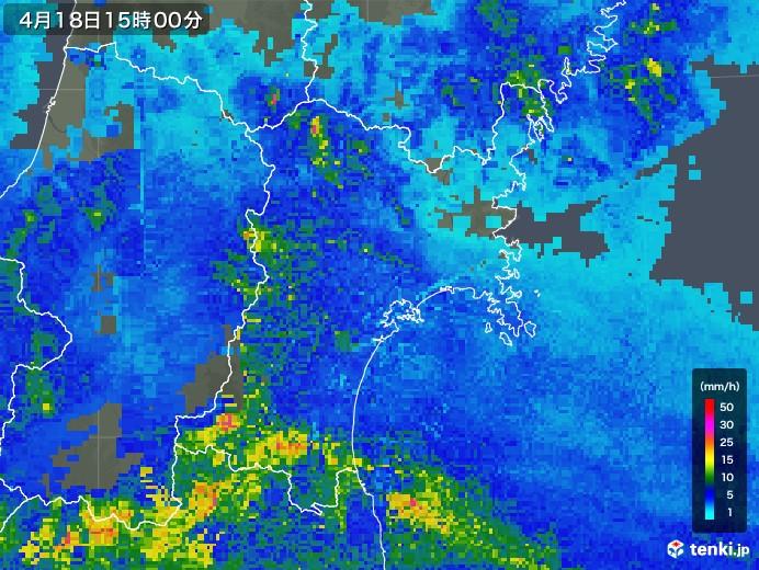 宮城県の雨雲レーダー(2020年04月18日)
