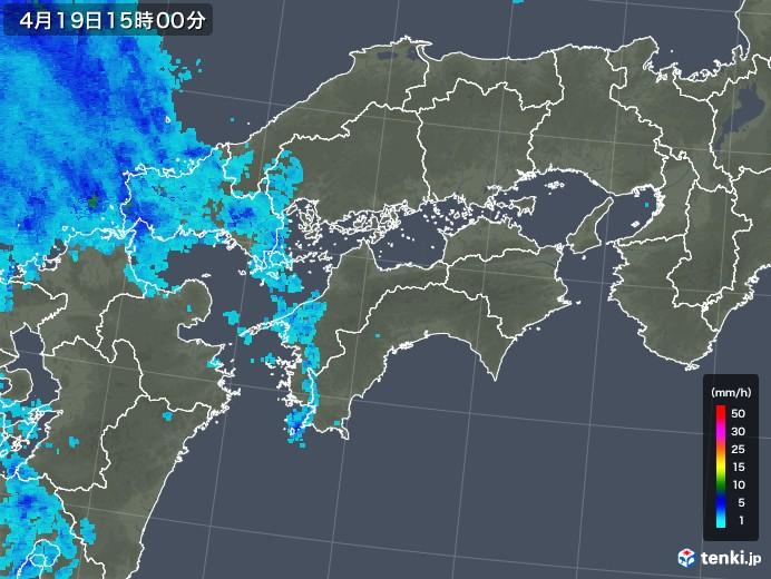 四国地方の雨雲レーダー(2020年04月19日)