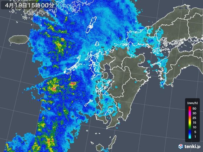 九州地方の雨雲レーダー(2020年04月19日)