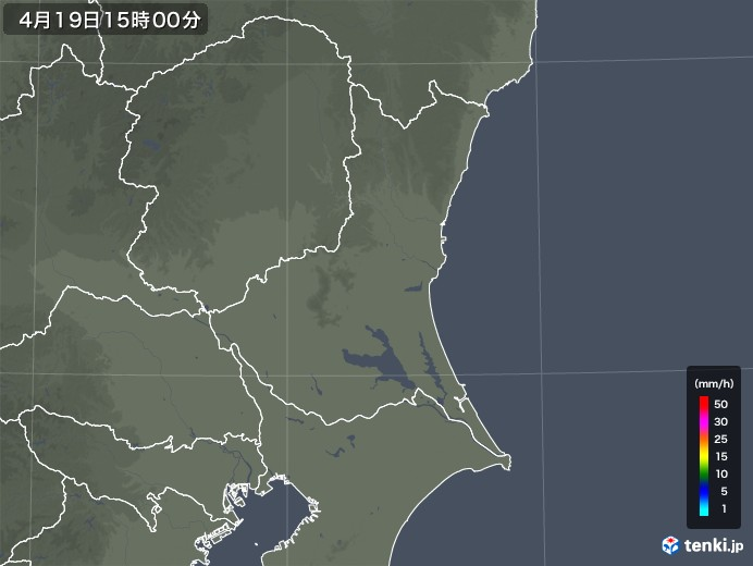 茨城県の雨雲レーダー(2020年04月19日)