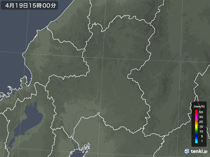 岐阜県の雨雲レーダー(2020年04月19日)