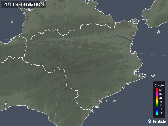 徳島県の雨雲レーダー(2020年04月19日)