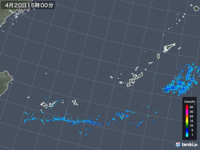 沖縄地方の雨雲レーダー(2020年04月20日)
