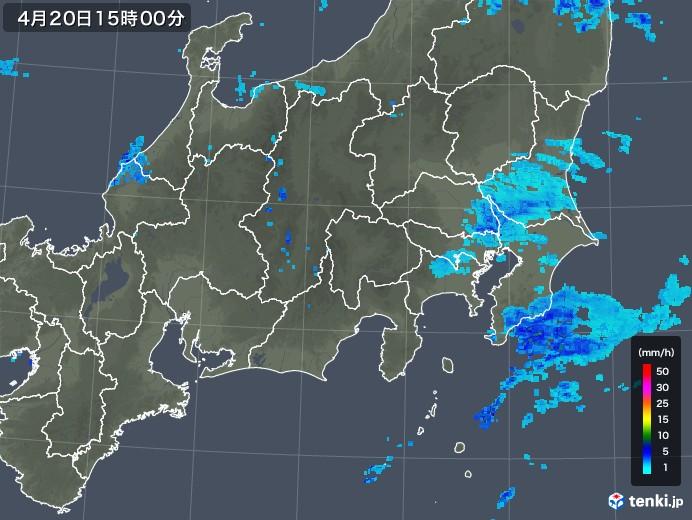 関東・甲信地方の雨雲レーダー(2020年04月20日)