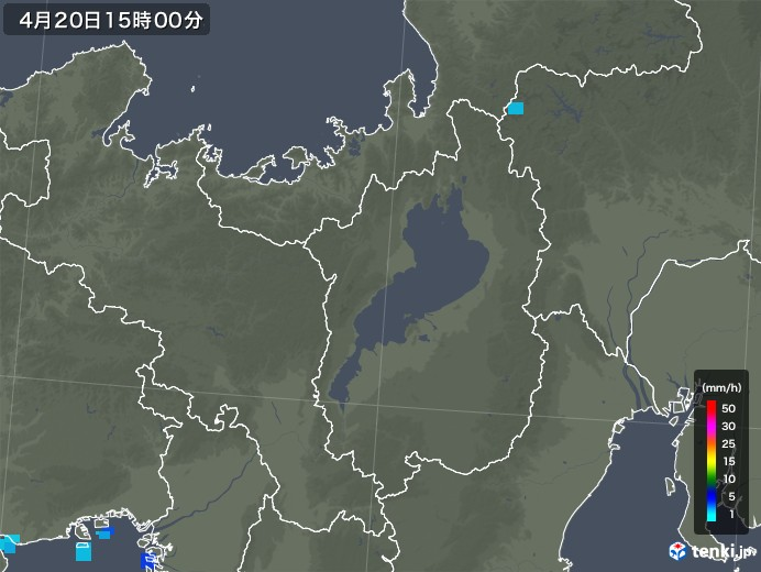 滋賀県の雨雲レーダー(2020年04月20日)
