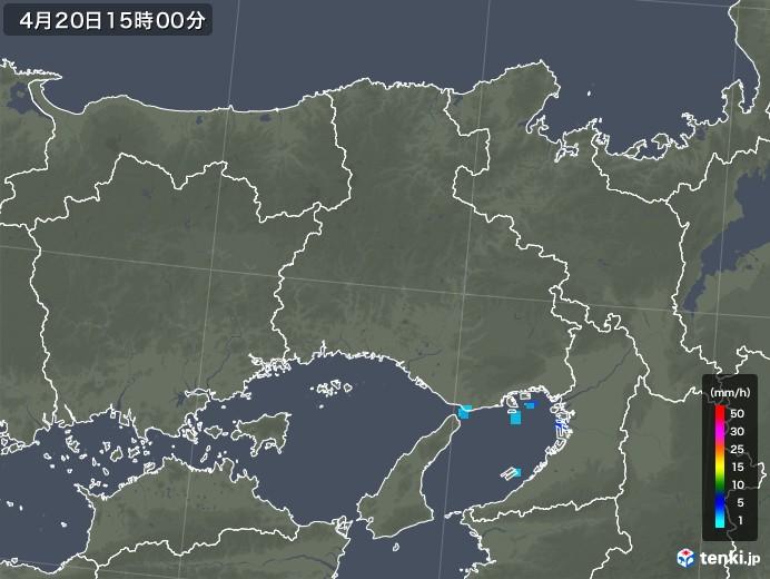 兵庫県の雨雲レーダー(2020年04月20日)