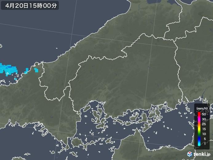 広島県の雨雲レーダー(2020年04月20日)