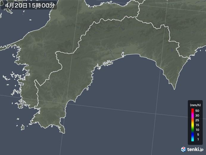 高知県の雨雲レーダー(2020年04月20日)
