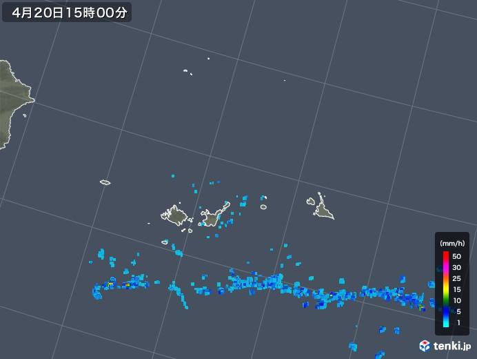 宮古島・石垣・与那国(沖縄県)の雨雲レーダー(2020年04月20日)