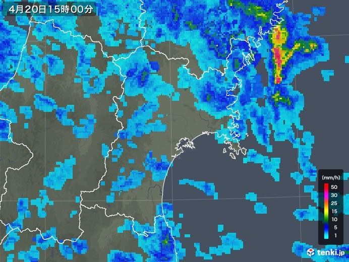 宮城県の雨雲レーダー(2020年04月20日)