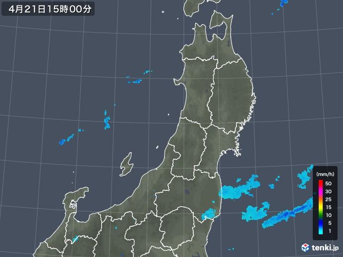 東北地方の雨雲レーダー(2020年04月21日)