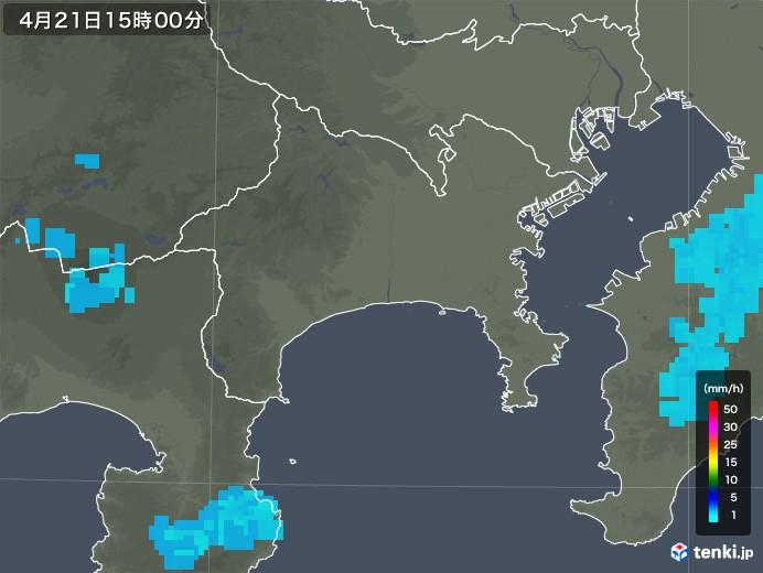 神奈川県の雨雲レーダー(2020年04月21日)
