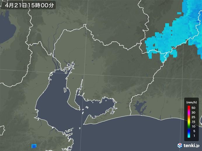 愛知県の雨雲レーダー(2020年04月21日)