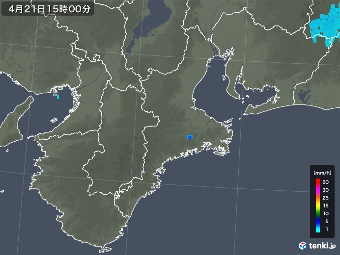 三重県の雨雲レーダー(2020年04月21日)