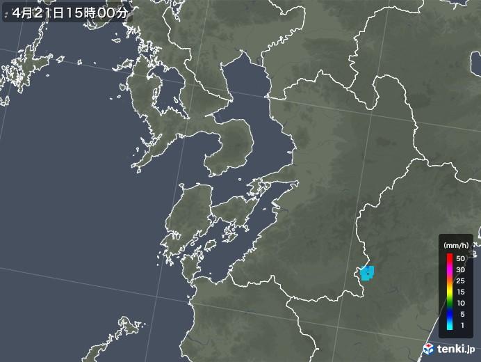 熊本県の雨雲レーダー(2020年04月21日)