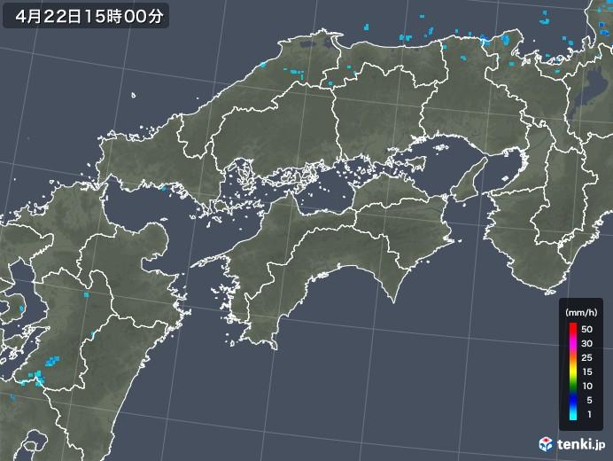 四国地方の雨雲レーダー(2020年04月22日)