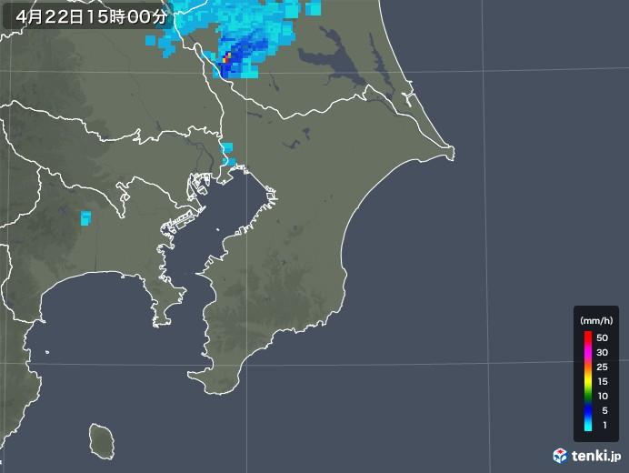 千葉県の雨雲レーダー(2020年04月22日)