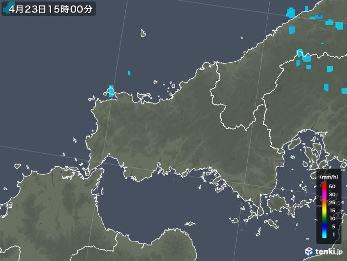 山口県の雨雲レーダー(2020年04月23日)