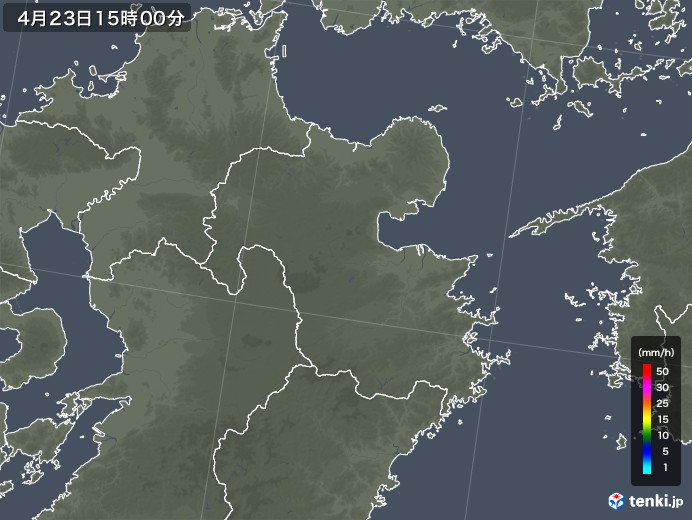 大分県の雨雲レーダー(2020年04月23日)