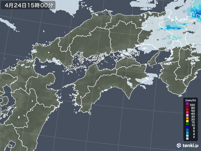 四国地方の雨雲レーダー(2020年04月24日)