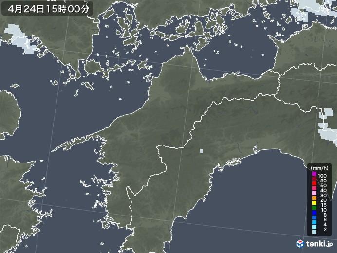 愛媛県の雨雲レーダー(2020年04月24日)