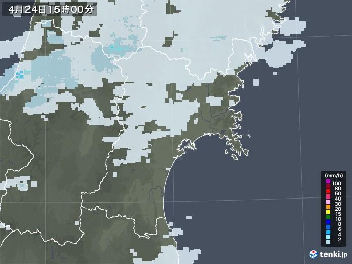 宮城県の雨雲レーダー(2020年04月24日)