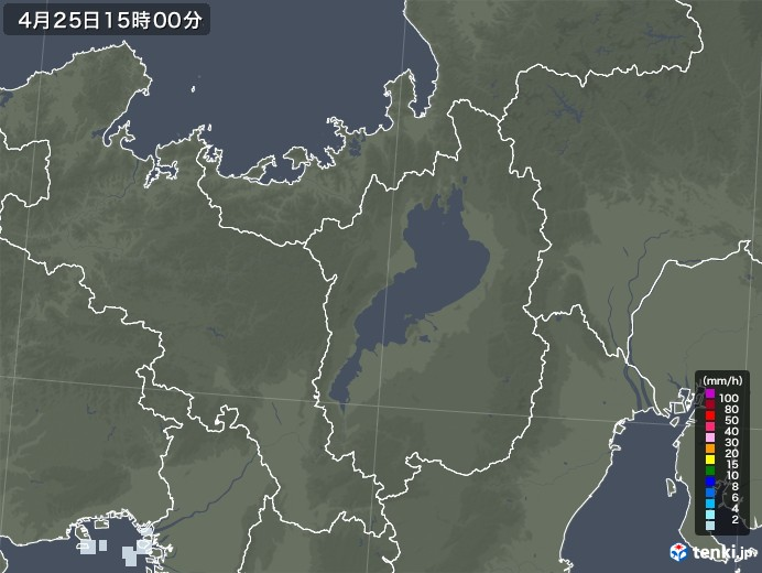 滋賀県の雨雲レーダー(2020年04月25日)