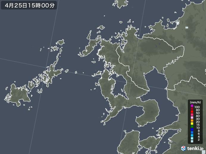 長崎県の雨雲レーダー(2020年04月25日)