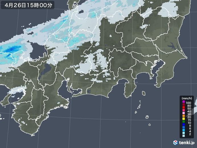 東海地方の雨雲レーダー(2020年04月26日)