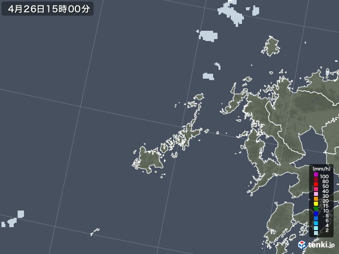 五島列島(長崎県)の雨雲レーダー(2020年04月26日)