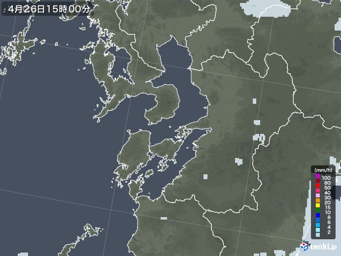 熊本県の雨雲レーダー(2020年04月26日)