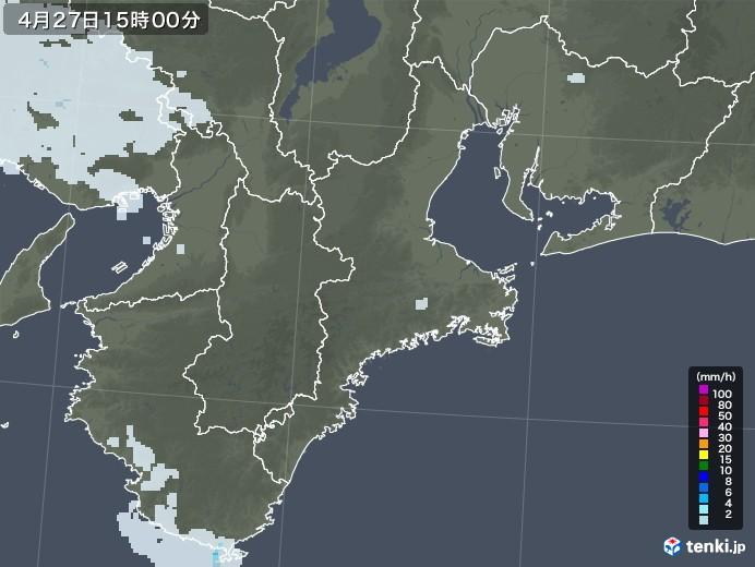 三重県の雨雲レーダー(2020年04月27日)