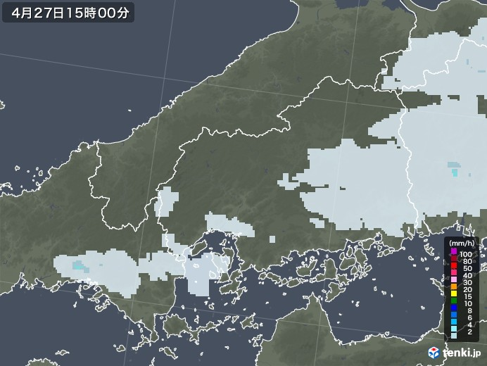 福山市の雨雲レーダー