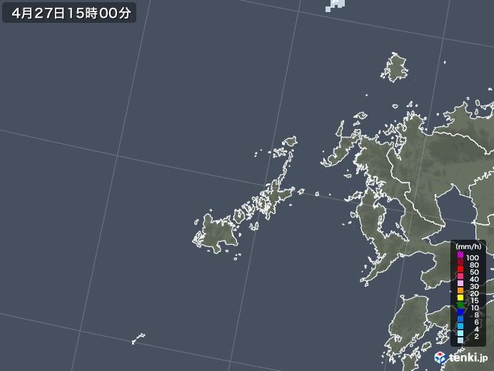 五島列島(長崎県)の雨雲レーダー(2020年04月27日)