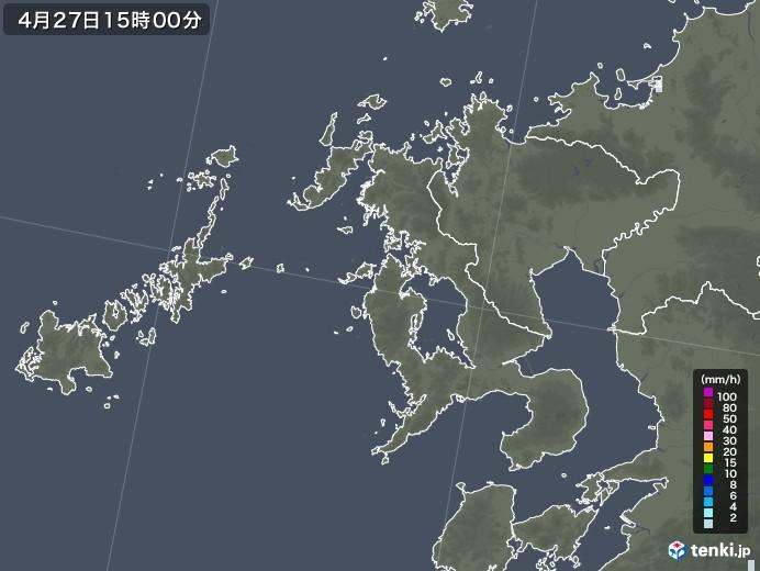 長崎県の雨雲レーダー(2020年04月27日)