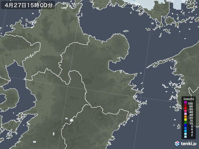大分県の雨雲レーダー(2020年04月27日)
