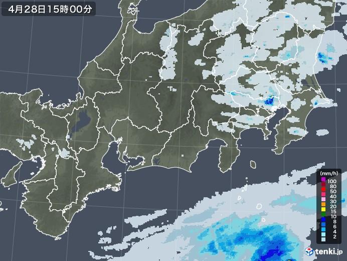 東海地方の雨雲レーダー(2020年04月28日)