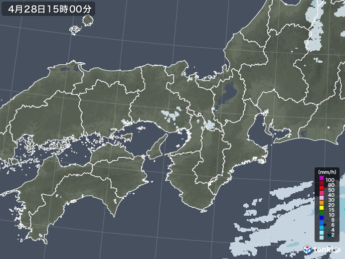 近畿地方の雨雲レーダー(2020年04月28日)