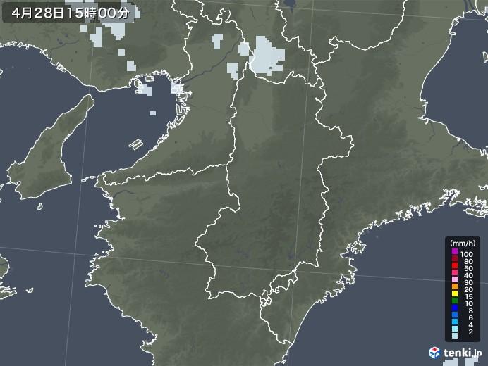 奈良県の雨雲レーダー(2020年04月28日)